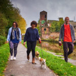Trent and Mersey Canal, Middleport - Oct 2017 - Jess, Kate and Adam with Max, Marley and Buster